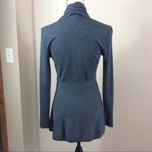 White House Black Market Sweaters - WHBM Gray Cardigan With Ruching Neckline Sz Small